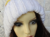 Knitted Women's White Hat With German Pompom - Free Shipping
