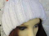 Knitted Women's White Hat With Italian Pompom - Free Shipping