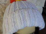 Knitted Women's White Hat With Spanish Pompom - Free Shipping