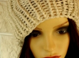Knitted Women's White Shimmery Winter Pompom Hat - Free Shipping