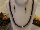 Lava bead Jewelry Set 24 in Necklace Earrings  8 in Bracelet Swarovski wooden beads Silver Plated Clasp Wire Earrings
