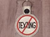 No Texting Keychain, glitter white