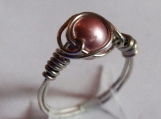 Rose Pink Gem jewelry Wire Wrapped Ring Artisan size 7 stainless steel