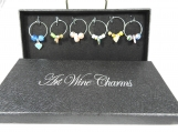 Set Of Six Heart Shaped  Wine Glass Charms - Free Shipping