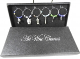 Set Of Six Wine Glass Charms In A Box - Free Shipping