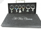Six Christmas Wine Glass Charms In A Box - Free Shipping