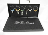 Six Drinking Themed Wine Glass Charms In A Box - Free Shipping