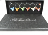 Six Wine Glass Heart Charms In A Box - Free Shipping