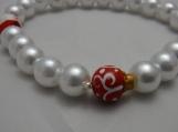 Stretch Bracelet Christmas Santa Ornament Faux Pearl