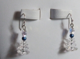 Swarovski Christmas Tree earring stainless steel sapphire white or copper glass pearl holiday sparkle