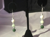 Swarovski Crystal Green and white bead earrings french wire silver bead accents
