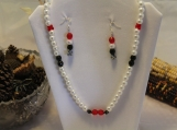 Swarovski crystal jewelry set 23 in necklace with matching earrings butterfly red obsidian pearl sterling silver clasp and earring wires