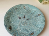 Wall hanging plate | Blue doodles / Wedding | Decorative plate |