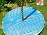 Wood Tree Swing- Distressed Blue Disc w/ 11 ft of rope