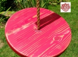 Wood Tree Swing- Distressed Red Disc w/ 11 ft of rope