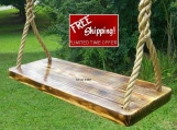 Wood Tree Swings-Charred Appalachian- 11 ft of rope per side