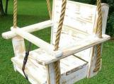 Wood Tree Swings-Kids Seat Swing-Distressed/White-11 ft of rope