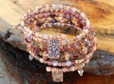 Beautiful Copper & Pink Crystal Memory Wire Bracelet
