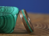 Bentwood- Black Walnut - Malachite Inlay - Men's Wedding Band - Wood Ring - Women's Engagement - Anniversary - Wooden Ring