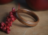 Bentwood Ring- Applewood with Offset Sterling Silver Inlay