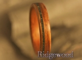 Bentwood Ring- Honduran Rosewood with offset Jade Inlay