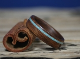 Bentwood Ring- Santos Rosewood with Offset Turquoise Inlay