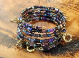 Black & Bronze Memory Wire Bracelet