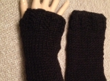 Black Knit Wrist Warmers with Thumb Opening