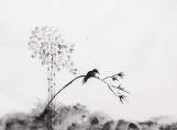 Black White ART,.Handmade Ink and water painting