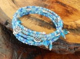 Blue Beaded & Glass Heart Memory Wire Bracelet