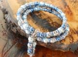 Blue Pearl & Silver Memory Wire Bracelet