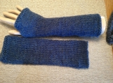 Blue Wool Smooth Knit Arm Warmers with Thumb Opening