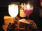 Cabernet Wine, Cheese and Grape Cluster Candle Platter!