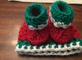 Christmas Baby Hat & Booties, 0-3 months