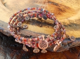 Copper & Brown Man on the Moon Memory Wire Bracelet