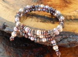 Copper & Brown Pearl Memory Wire Bracelet