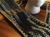 Multi-Colored Blue Crochet Scarf (includes a free gift)