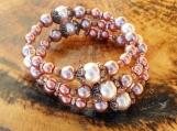 Dusky Pink & Copper Pearl Memory Wire Bracelet