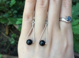Fashionable natural black tourmaling sterling silver earrings