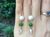 Freshwater pearl & nephrite silver leave earrings