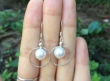 Freshwater pearl sterling silver earrings with hoops