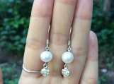 Freshwater pearl sterling silver earrings with silver flower