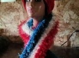 Red/White/Blue Scarf With Red Beanie