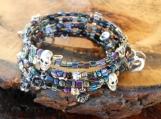 Gothic Skull & Rose Memory Wire Bracelet