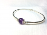 High quality amethyst sterling silver bangle bracelet