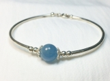 High quality aquamarine sterling silver bangle bracelet