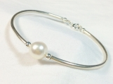 High quality freshwater pearl sterling silver bangle bracelet