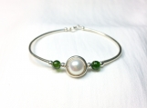 High quality pearl sterling & diopsite silver bangle bracelet