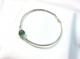 High quality nephrite sterling silver bangle bracelet