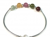 High quality tourmaline sterling silver bangle
